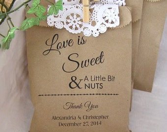 Wedding Favor Bags - Peanut Bags (24 BAGS) - Personalized Paper Bags BUFFET-031PR