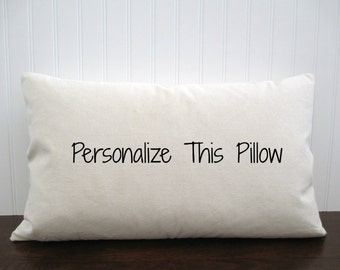 Personalized Cotton Canvas / Burlap Pillow Cover. Burlap Pillow Cover. Custom Pillow. Zipper enclosure. Rustic home decor. Rustic Chic.