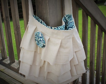 Ruffle Bag, Ruffle Purse, Shabby Linen Ruffle Bag with a Crossbody Strap
