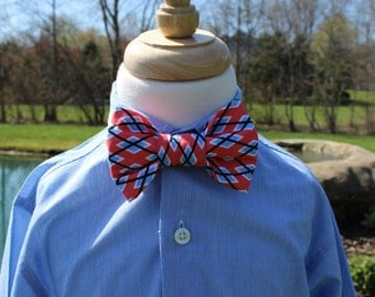 Little Boy Bow Tie, Infant/Toddler Bow Tie, Little Guy Tie with Adjustable Velcro Neck Band Coral and Blue Argyle