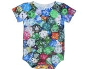 Baby Onesie - RPG Gaming Dice - Romper, One Piece, Nerdy Baby Clothes, Geek Kid, Toddler, Infant, Newborn, Gamer Baby, Tabletop, D20, Unique