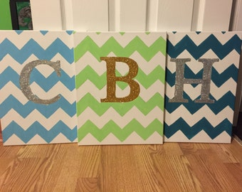 Custom Chevron Initial Canvases 3 Pack