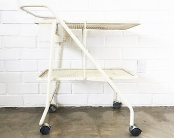 Vintage Ivory Metal Mesh Cart - Garden Herb Cart - Bar Cart - Tea Cart