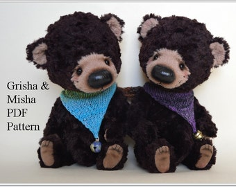 PDF Teddy bear pattern, 8.2 inches (21 cm) - Grisha