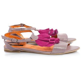 Sara Purple Leather Sandals