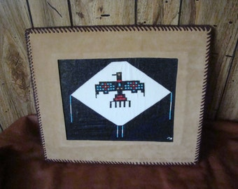 Handcrafted Thunderbird Seed Bead Art picture with double loop lace edging
