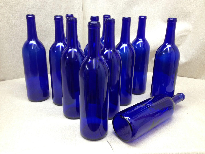 12 Cobalt Blue Bottles 750 Ml For Crafting Bottles Parties