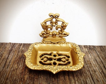 Gold business card holder soap dish / french country / bathroom office decor / business card stand / Victorian shabby chic / soap tray
