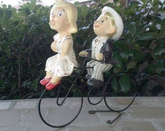 Man and Women, Couple, on Bike, by Ucagco,1950s Japan Figurine, 3 Pieces
