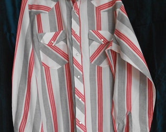 Rockabilly Shirt in white and gray/red stripes