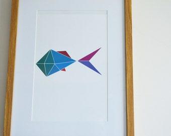 Colourful simple geometric fish print