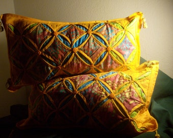"Cathedral Window Pillow Set ""TAKARA COLLECTION"""