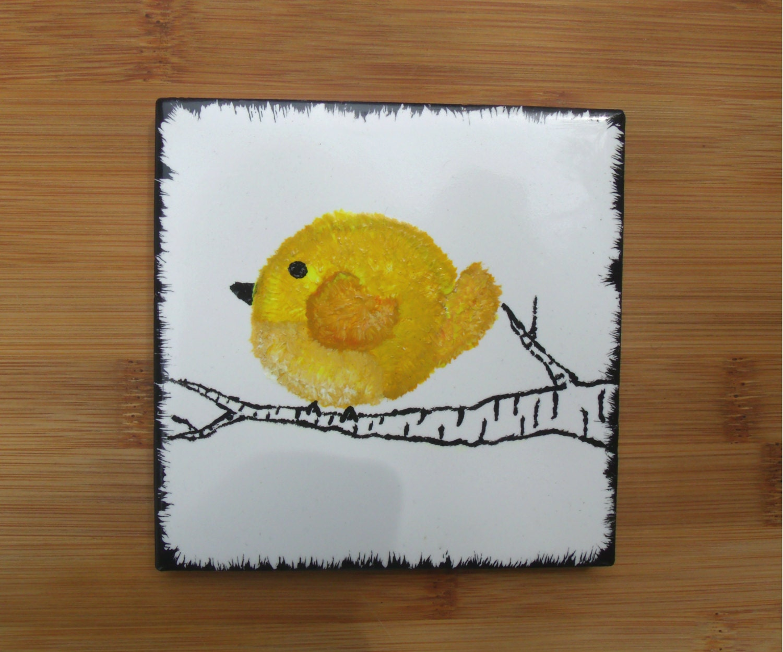 One hand painted bird coaster 4x4 ceramic tile yellow zoom dailygadgetfo Choice Image