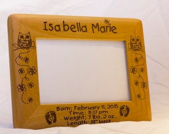 Personalized Photo Frame, Engraved Wood Frame, Baby Gift, Custom Engraved Frame, Personalized Baby Gift,  4x6 Frame