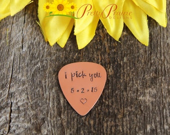 I Pick You Guitar Pick - Personalized Mens Gift - Hand Stamped Guitar Players Present - Fathers Day - Guitar Lover Gift  - Metal Guitar Pick