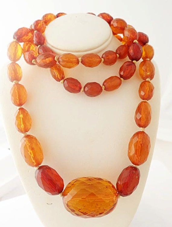 Antique Victorian Amber Necklace Genuine Faceted Amber