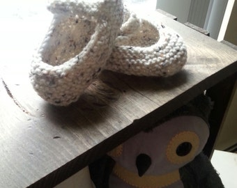 Hand Knit Baby Bootie Mary Janes