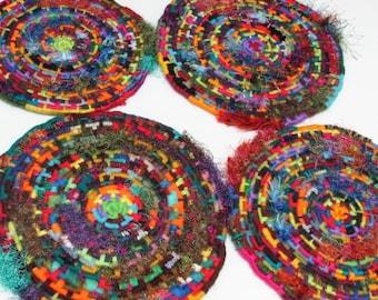 MEDIUM Vibrant One-Of-A-Kind Multi-Color, Multi-Texture Coiled Jute Fiber Discs - Each One Completely Unique!