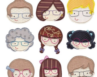 See You Faces Applique Machine Embroidery Designs 4x4 5x7 6x10