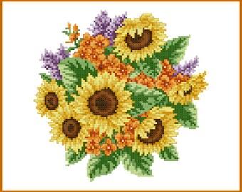 Bunch of Sunflowers Cross Stitch Pattern