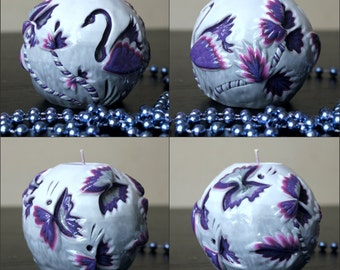 Butterfly - Swan - Gift for woman - Round Candle  - Carved candles - Interior  - Unusual gift