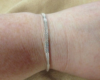 Vintage 925 Sterling Silver ITALY Chain Bracelet, Length 8''