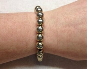 Vintage Goldtone Beaded Bracelet, Length 7.75''