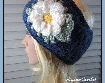 Navy Blue Crocheted Granny Square Headband, Ear Muff, for Teen to Adult with a Big White Flower ..
