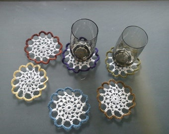 6 crocheted glass coasters