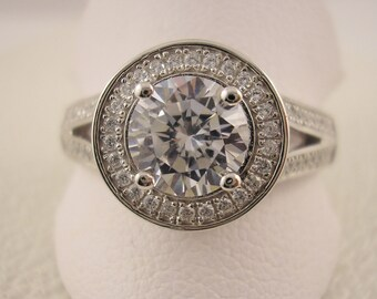 Rhodium plated Sterling Silver Ring with Cubic Zirconia