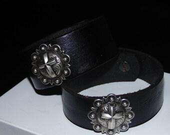 Cross Medalion on Black Leather Cuff - Leather Bracelet - Genuine leather - Wrist Bracelet