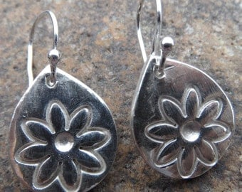 Fine Silver Flower Drop Earrings
