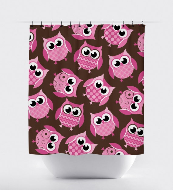 owl shower curtain pink and brown owl shower curtain shower. Black Bedroom Furniture Sets. Home Design Ideas
