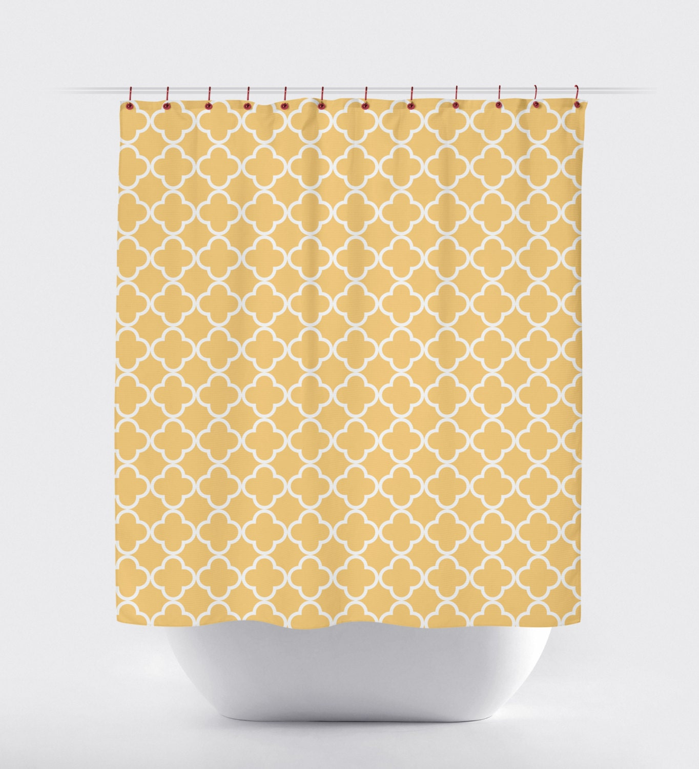 mustard quatrefoil shower curtain modern yellow by