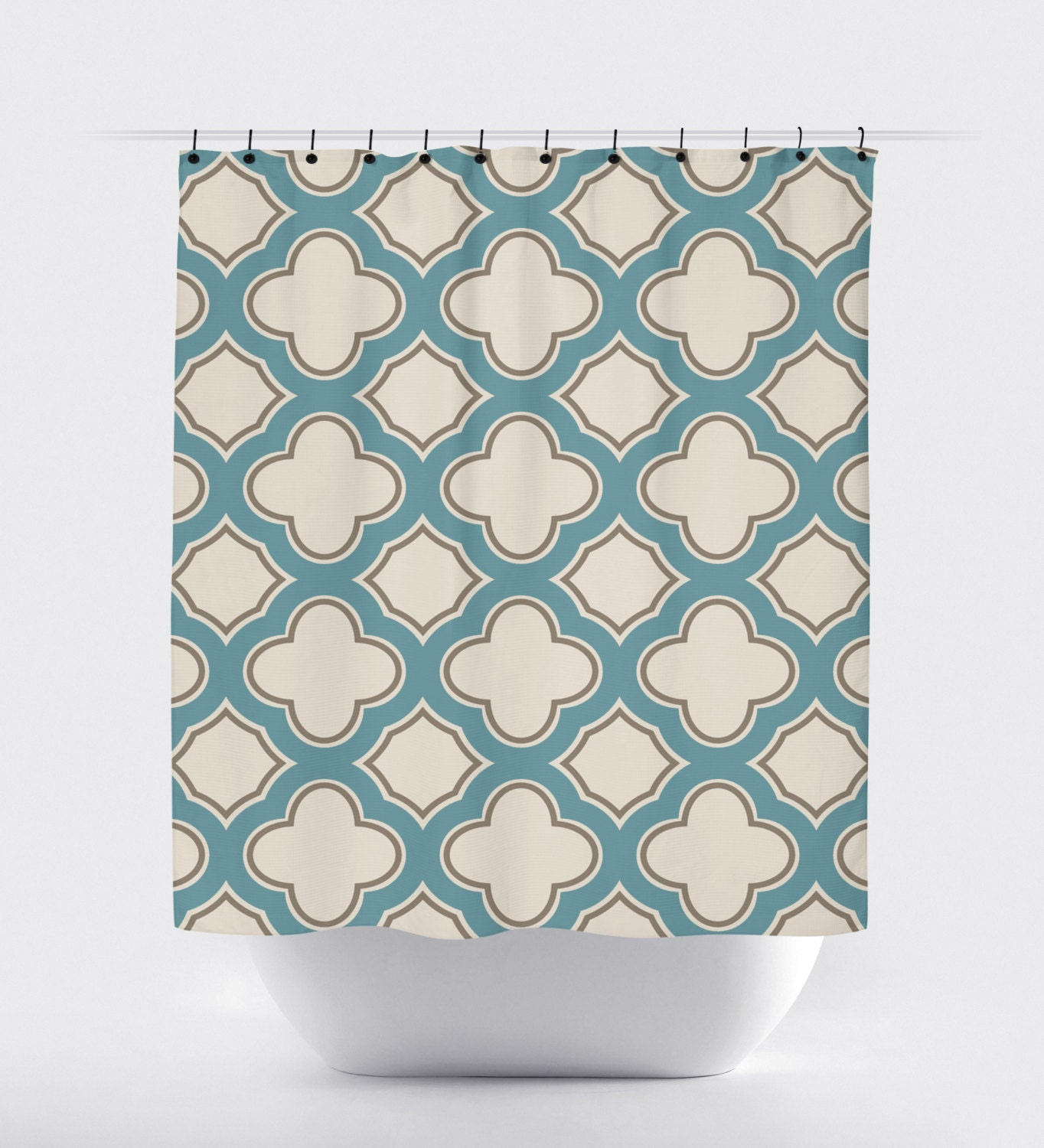 light blue tan cream geometric shower curtain high quality