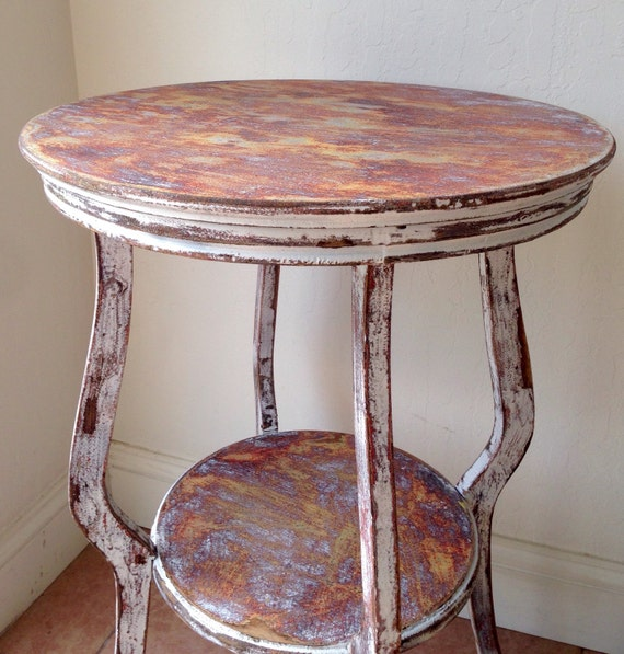 Unique Distressed Round Side Table Entryway By