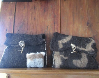 Wool felted I-Pad cases with antler and wooden buttons