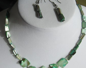 Green shell and pearl necklace and earrings