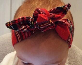 Red tartan Royal stewart headband head band hair wrap scarf bandana head wrap knot bow baby, toddler or girls