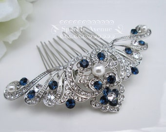 Something Blue Hair comb Art Deco Comb White Pearl Wedding Hair Comb Vintage Inspired Hair Accessory Flower Hair Clip Bridal Hair Comb Anna