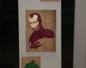 Retro Ironman, hand carved art work