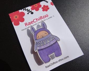 purple rabbit shrink plastic brooch pin badge