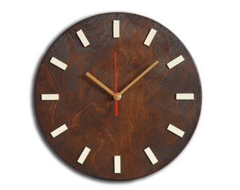 Scandi Clock - wooden clock, simple, wenge