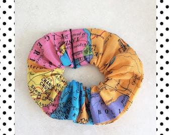 World Map Print Hair Scrunchie
