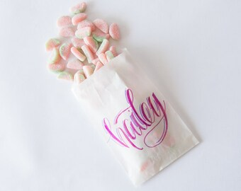 Personalized Calligraphy Treat Bags / Custom Treat Bags / Personalized Hand Lettered Treat Bags