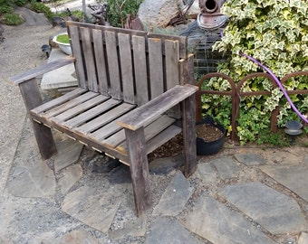 Rustic Pallet bench for entryway or outdoors with armrest and back rest