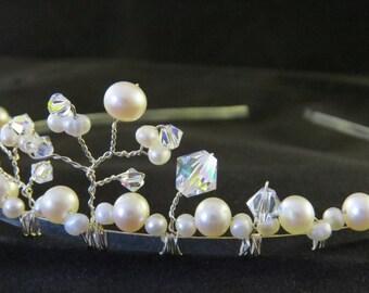 Elegant freshwater pearl and crystal bridal tiara