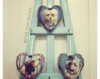 Dog Fabric Heart Decoration