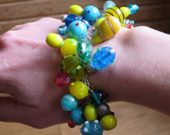 Unique, Teal and Yellow Lampwork Bracelet Made By Me