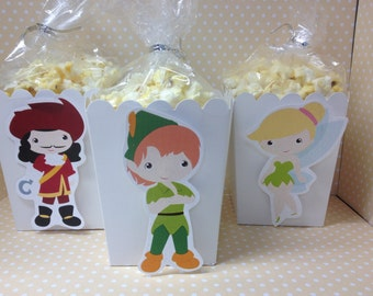 Peter Pan, Neverland, Captain Hook, Tinkerbell Popcorn or Favor Boxes